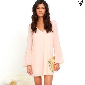 New Lulus  Far Wanderings Peach Shift Dress